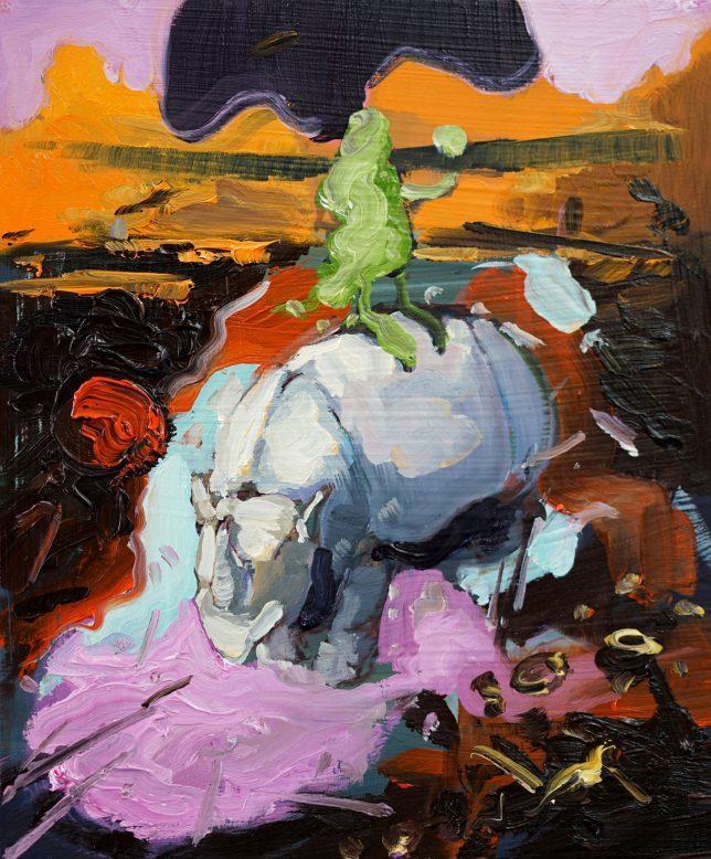 Philipp Kummer, Crows Nest, 2018, oil on wood, 30 x 25 cm
