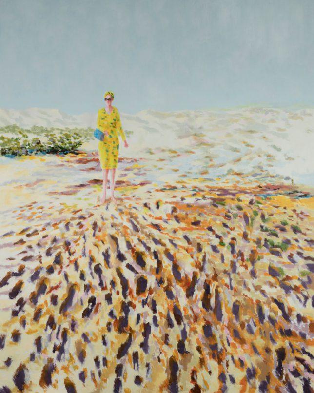 Tjark Ihmels, Frau im Sand, 2018, Öl auf Leinwand, 200 x 160 cm