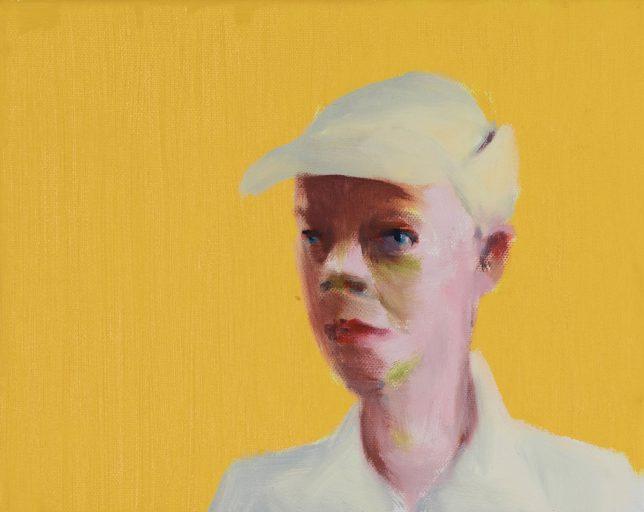 Tjark Ihmels, Mütze vor Gelb, 2018, Öl auf Leinwand, 24 x 30 cm