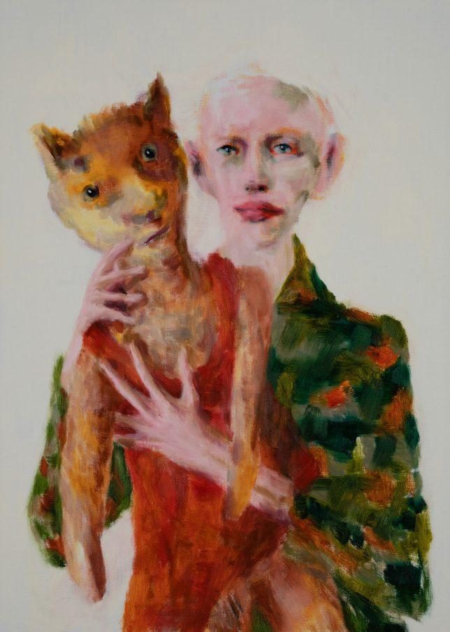 Tjark Ihmels, Füchsin, 2019, Öl auf Leinwand, 70 x 50 cm