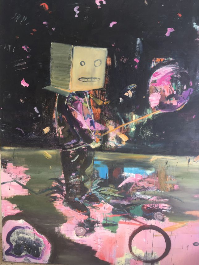 Philipp Kummer, Schrödingers Feierabend, 2018, oil on canvas, 160 x 120 cm