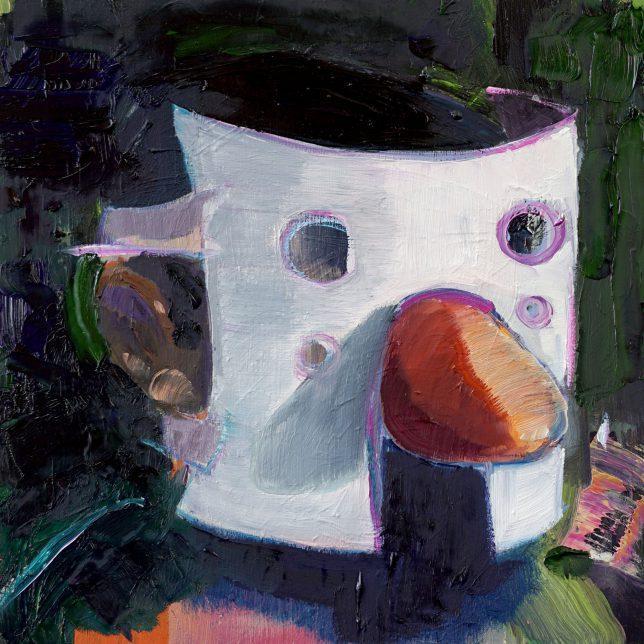 Philipp Kummer, Maske, 2018, oil on wood, 25 x 25 cm