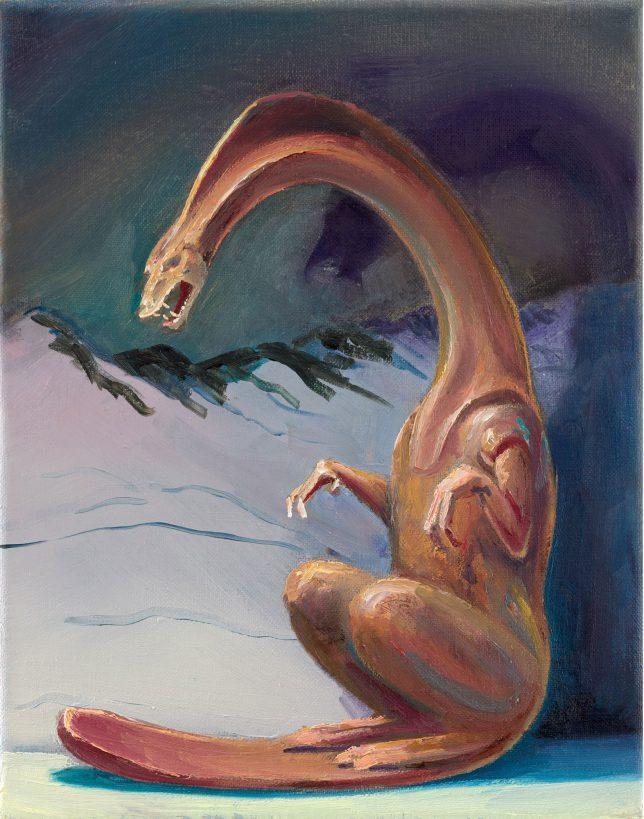 Sebastian Meschenmoser, Flash Gordon Nippes Eisdrache, 2019, Öl auf Leinwand, 25 x 15 cm