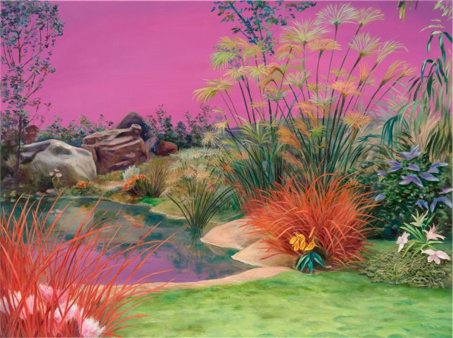 Sebastian Meschenmoser, Kelvanerexilplanet, Panorama, 2019, Öl auf Leinwand, 90 x 120 cm