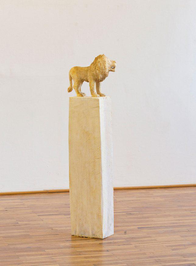 Jan Thomas, Loewe, 2016, Pappelholz, Lasur, 127 cm