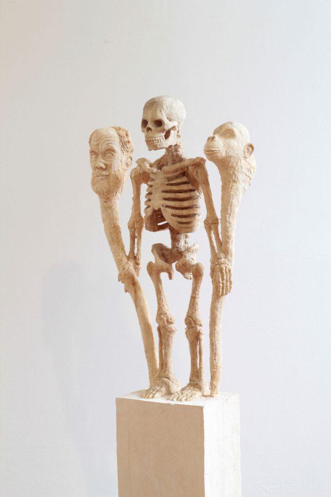 Jan Thomas, Origin Theories, 2019, Pappelholz, Laser, 158 cm