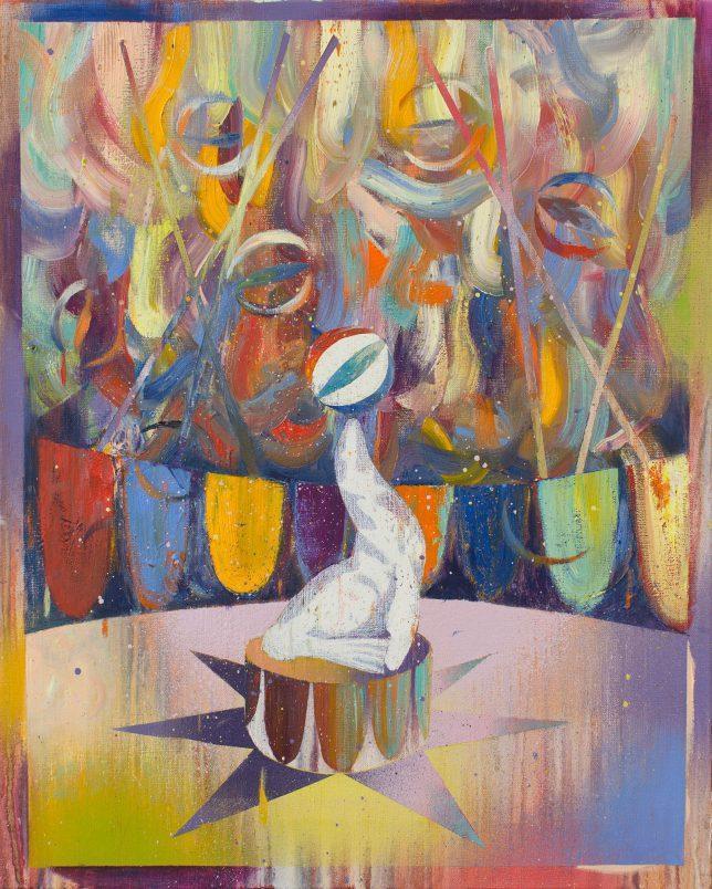 Matthias Moravek, Balance, 2019, Öl auf Leinwand, 50 x 40 cm