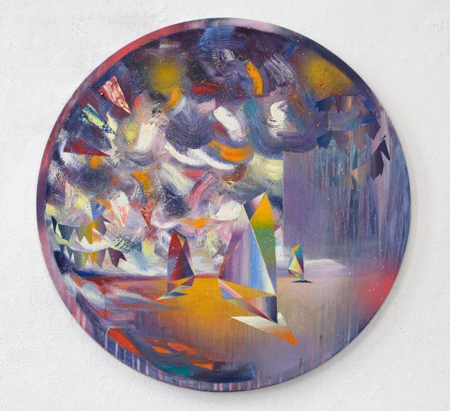 Matthias Moravek, Trapez, 2019, Öl auf Leinwand, 80 x 80 cm