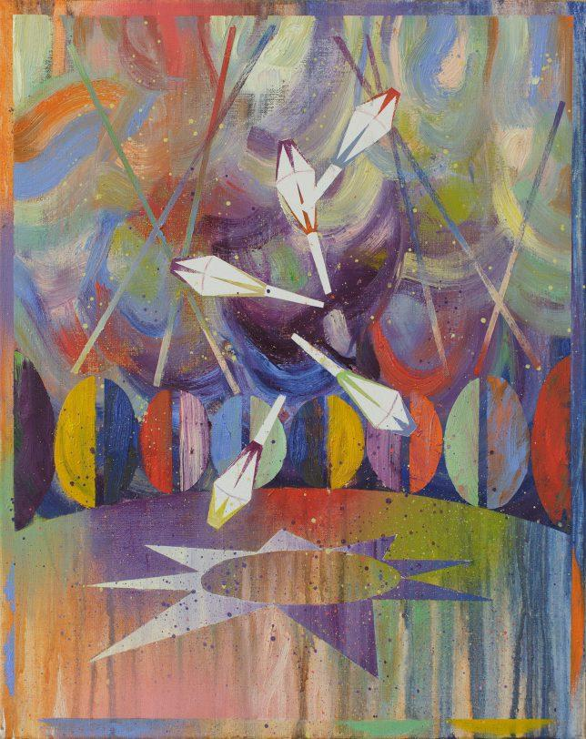 Matthias Moravek, Jonglage, 2020, Öl auf Leinwand, 50 x 40 cm