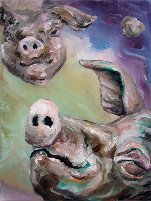 Florian Pelka, Im Weltraum, 2020, Öl auf Leinwand, 40 x 30 cm
