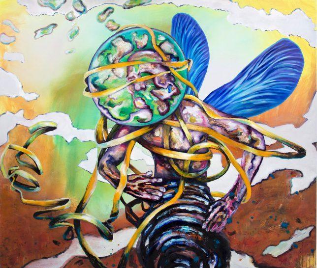 Florian Pelka, Tänzer, 2020, Öl auf Leinwand, 270 x 200 cm