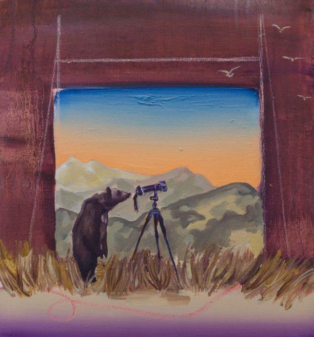 Ekaterina Leo, Looking Through the Mirror III, 2018, oil on canvas, 42 x 39 cm
