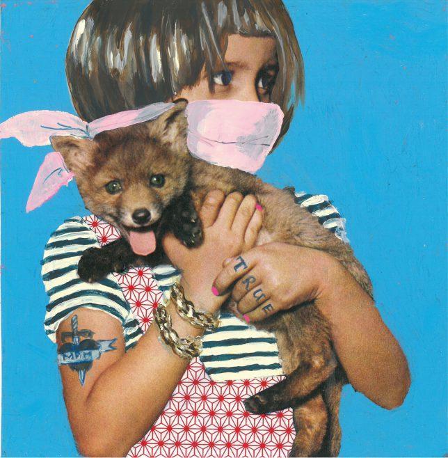 Ekaterina Leo, Radioactive Zoo V, 2018, mixed media on color print, 21 x 21 cm