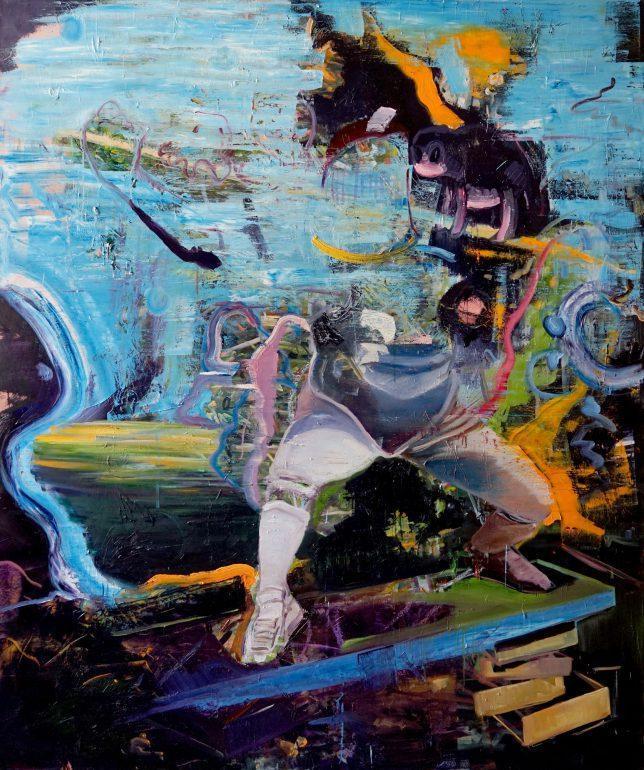 Philipp Kummer, Stock und Plan, 2018, oil on canvas, 200x 180 cm