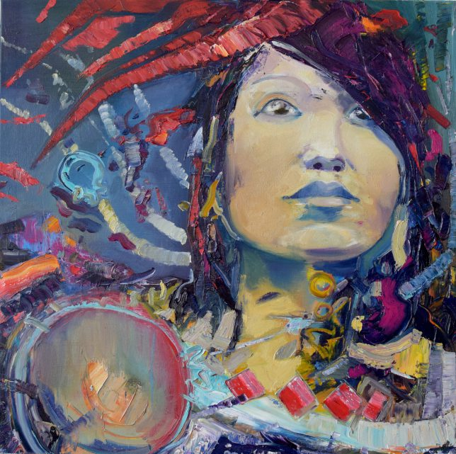 Philipp Kummer, Glimpse, 2019, oil on canvas, 80 x 80 cm