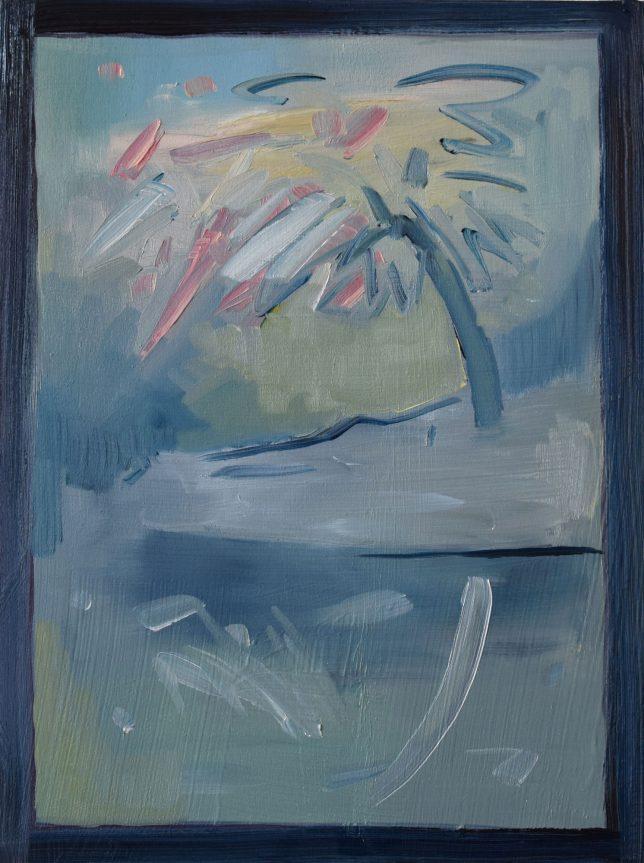Philipp Kummer, Nebel, 2019, Öl auf Holz, 40 x 30 cm
