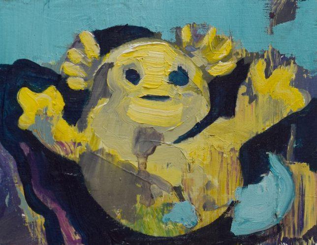 Philipp Kummer, So Einfach, 2019, oil on wood, 20 x 15 cm