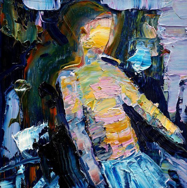 Philipp Kummer, Erschütterung, 2020, oil on wood, 25 x 25 cm