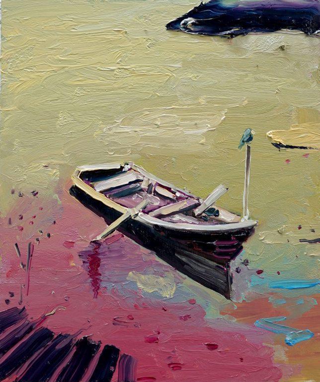 Philipp Kummer, Reise, 2020, oil on wood, 30 x 25 cm