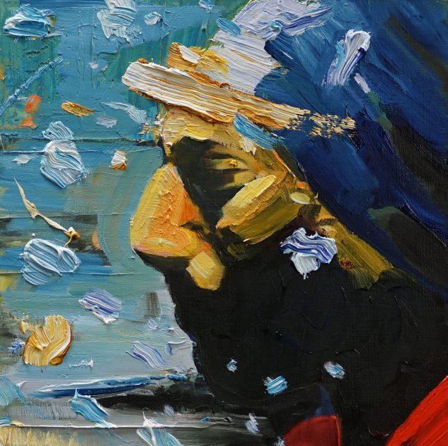Philipp Kummer, Vorreiter, 2020, oiI on wood, 25 x 25 cm