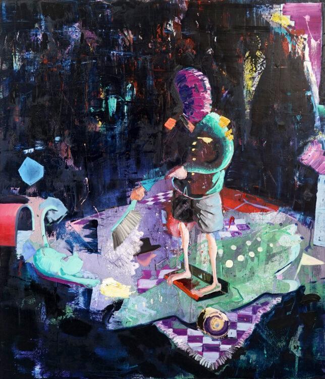 Philipp Kummer, A Dream in a locked Room, 2020, oil on canvas, 210 x 180 cm