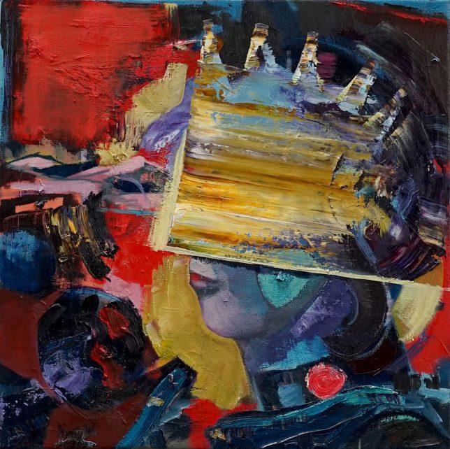 Philipp Kummer, Mainly Noise, 2020, oil on canvas, 50 x 50 cm