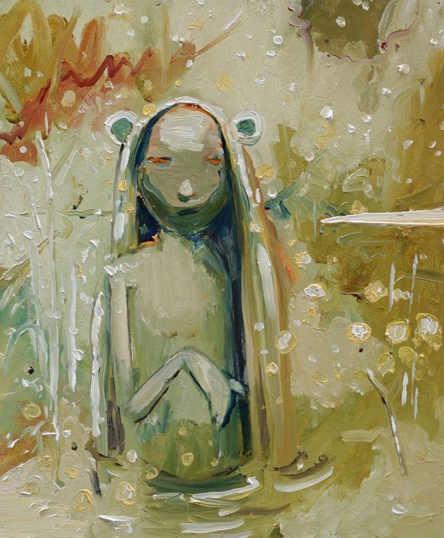 Philipp Kummer, Weicher Regen, 2020, oil on wood, 30 x 25 cm