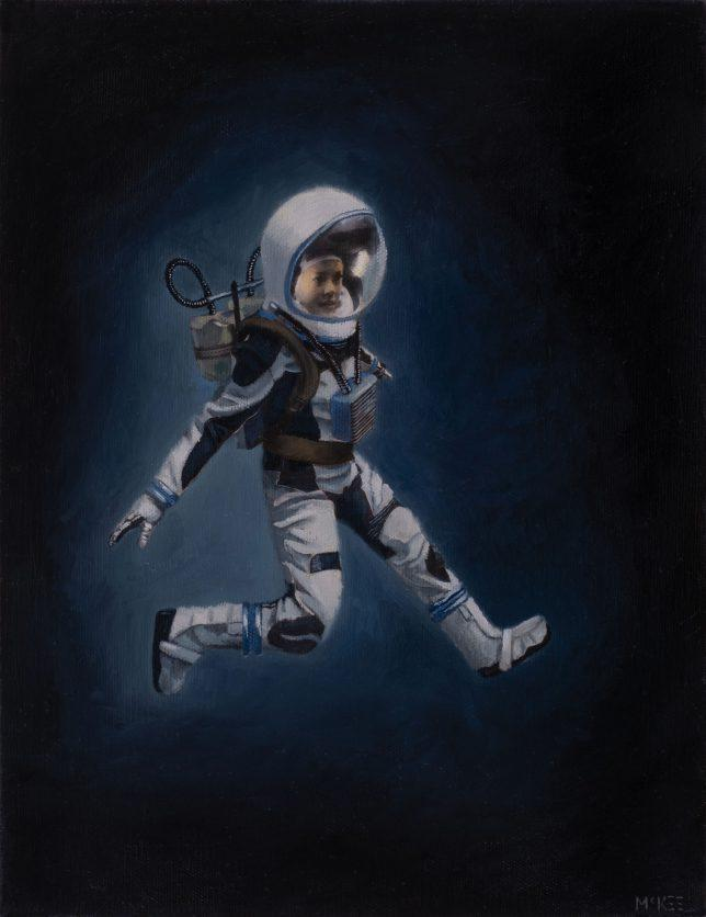 Casey McKee, Freefall, 2020, photograph, oil on canvas, 30 x 32 cm