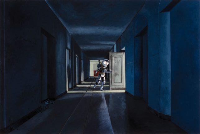 Casey McKee, Somnambulist, 2020, photograph, oil on canvas, 80 x 120 cm