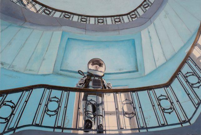 Casey McKee, Stairwell, 2020, C-Print Öl auf Leinwand, 54 x 81 cm