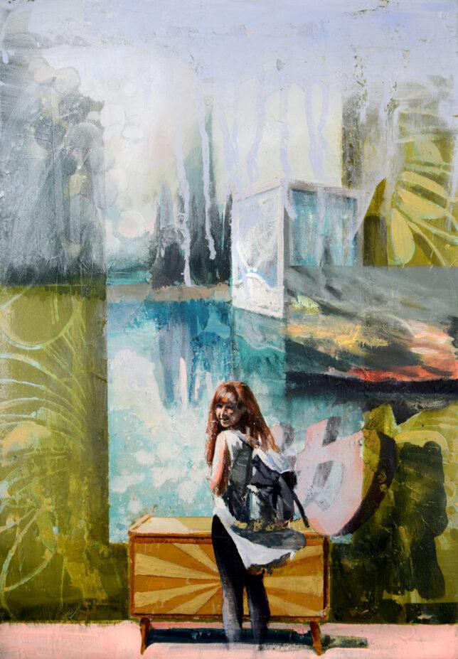 Tessa Wolkersdorfer, Chasing The Sunset 2, 2018, Öl auf Leinwand, 50 x 35 cm