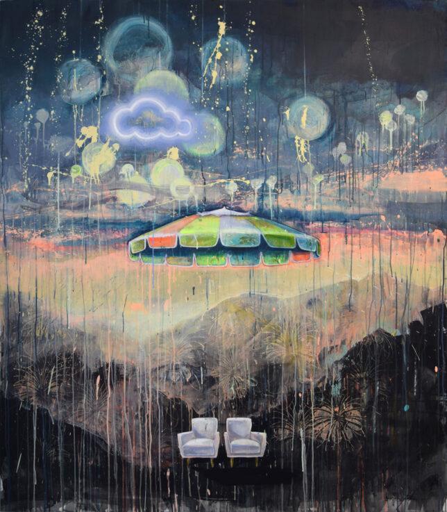 Tessa Wolkersdorfer, Dreamscape Skybulbs, 2018, Tusche und Acryl auf Leinwand, 160 x 140 cm