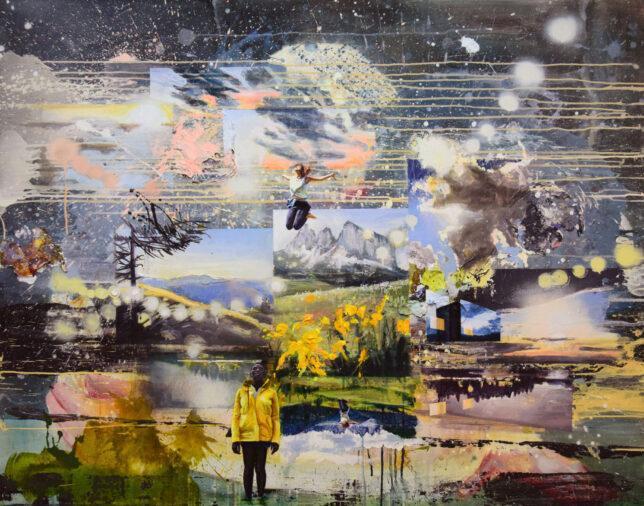 Tessa Wolkersdorfer, Exuberance, 2018, Tusche Acryl und Acryl spray auf Holz, 110 x 140 cm