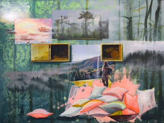 Tessa Wolkersdorfer, Mestagram Homage to Caspar-David-Friedrich_2, 2018, Tusche und Acryl auf Leinwand, 60 x 80 cm