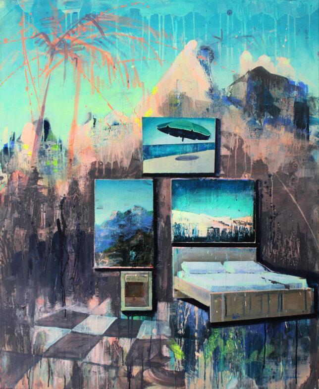 Tessa Wolkersdorfer, One Night In Creation, 2018, Tusche und Acryl auf Leinwand, 110 x 90 cm