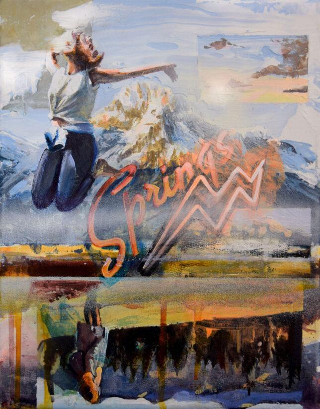 Tessa Wolkersdorfer, Springscape, 2018, Tusche und Acryl auf Leinwand, 30 x 24 cm