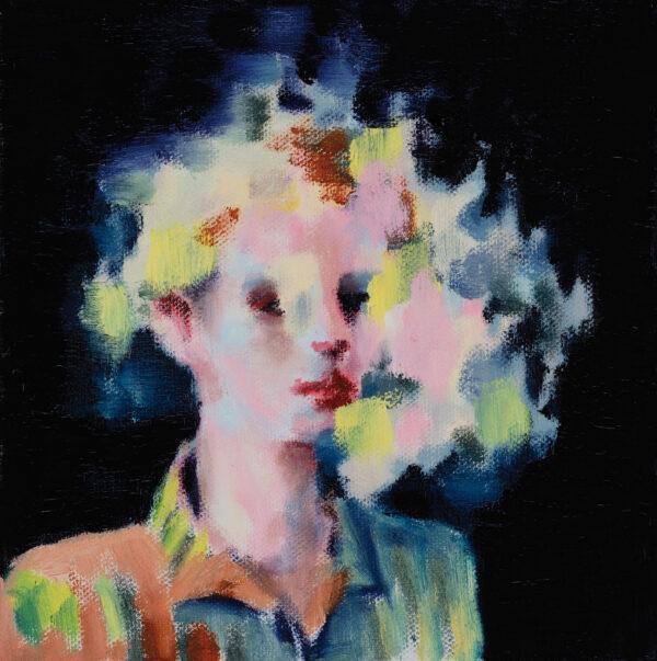 Tjark Ihmels, Portrait in Farbwolke, 2020, Oil on Canvas, 20 x 20 cm