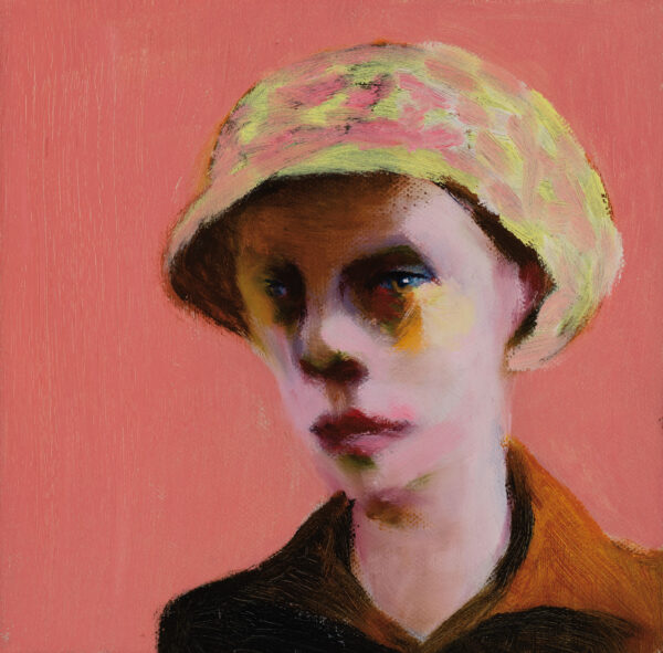 Tjark Ihmels, Portrait mit Kappe, 2020, Oil on Canvas, 20 x 20 cm