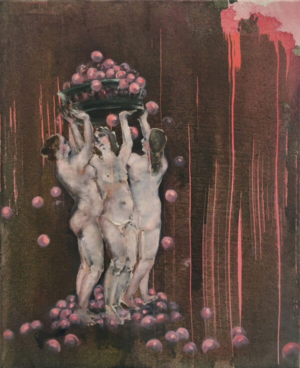 Isabel Friedrich, Abschiedsball, 2016, Indian Ink, Oil On Canvas, 40 x 49 cm