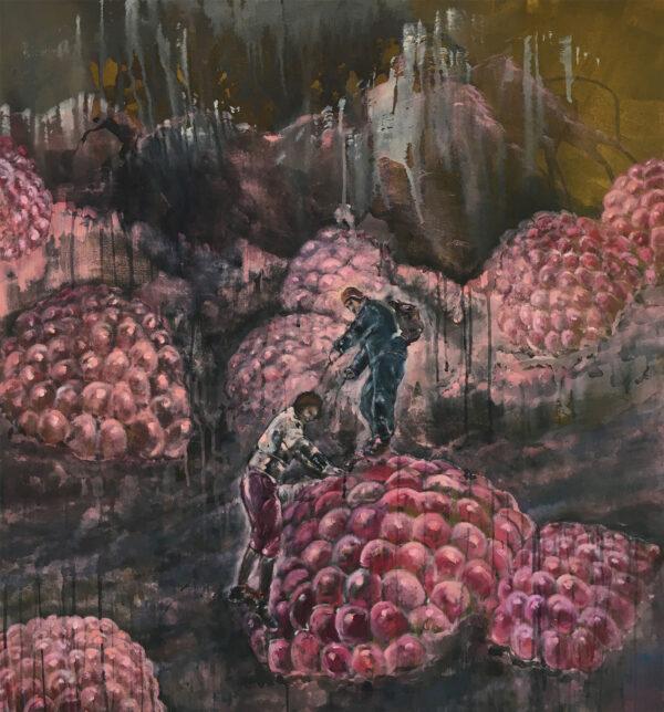 Isabel Friedrich, Am Fuße des Hoffnungsschimmers, 2016, Oil, Indian Ink on Canvas, 80 x 85 cm