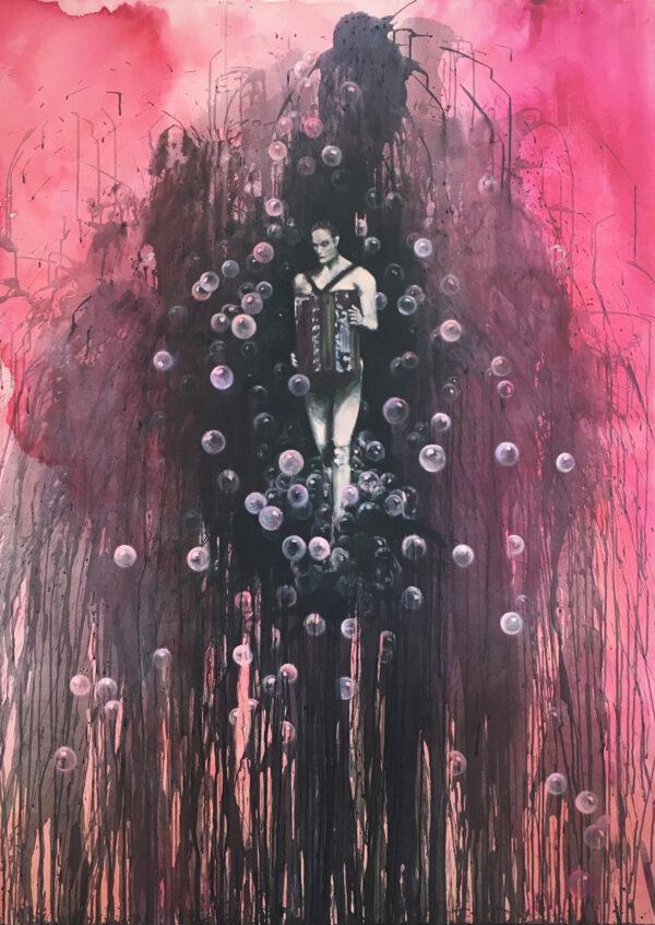 Isabel Friedrich, Du bist so schwer, 2016, Oil, Indian Ink Acrylic on Canvas, 130 x 180 cm