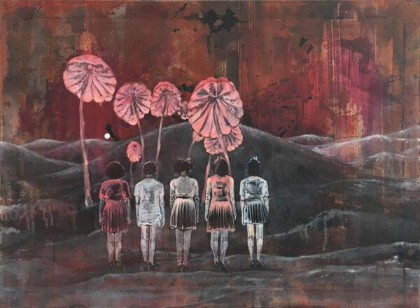 Isabel Friedrich, Er hat gesagt er wartet, 2016, Oil, Indian Ink Acrylic on Canvas, 70 x 95 cm