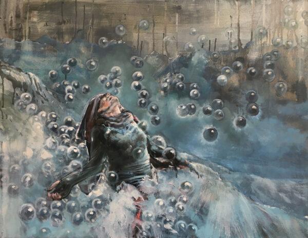 Isabel Friedrich, Himmel, 2016, Oil, Indian Ink on Canvas, 70 x 90 cm