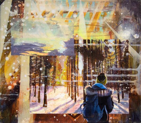 Tessa Wolkersdorfer, Cold Sunset, 2019, Acryl, Tusche auf Leinwand, 34 x 39 cm