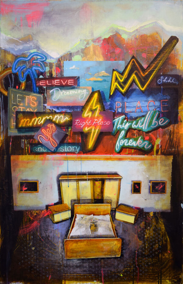 Tessa Wolkersdorfer, Neoromantic, 2020, Acryl, Tusche auf Leinwand, 100 x 65 cm
