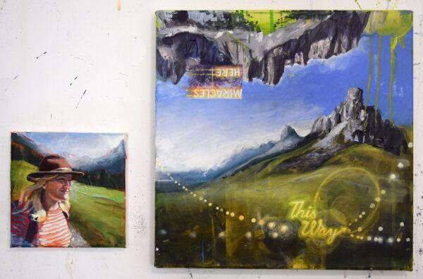 Tessa Wolkersdorfer, This Way, Diptychon, 2020, Acryl auf Leinwand, 33 x 33 cm und 15 x 15 cm