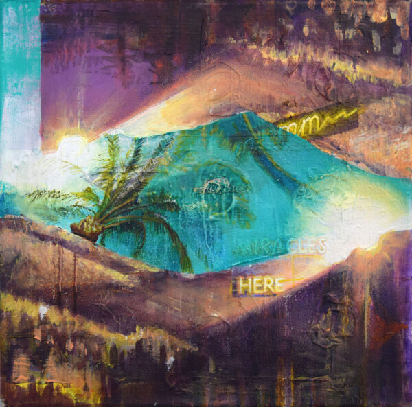 Tessa Wolkersdorfer, Twinscape with Palm Trees, 2019, Acryl, Tusche auf Leinwand, 28 x 28 cm
