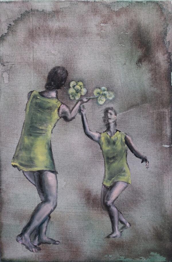 Isabel Friedrich, 1-1, 2019, Indian Ink, Oil on Canvas, 30 x 45 cm