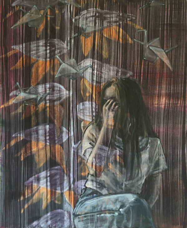 Isabel Friedrich, Could Not Hide, 2020, Indian Ink, Oil on Canvas, 45 x 55 cm