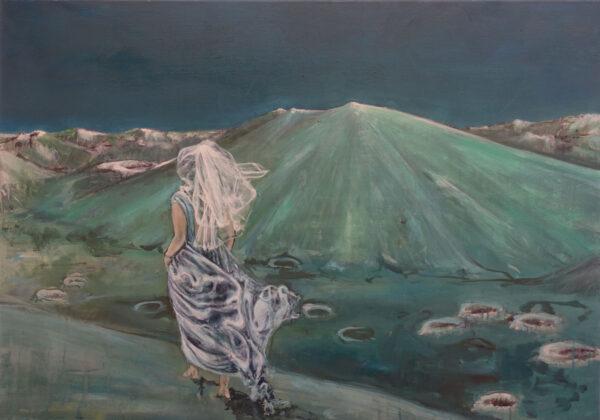 Isabel Friedrich, Dahinten, 2020, Indian Ink, Oil on Canvas, 70 x 100 cm